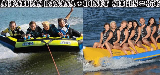 Banana y donut acuático