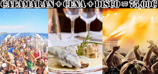 Fiesta en catamarán, restaurante y discoteca