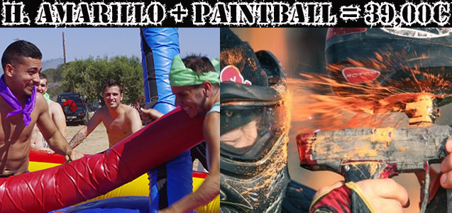 Humor Amarillo + Paintball Cambrils a 10min de Salou. Despedidas y fiestas Salou.