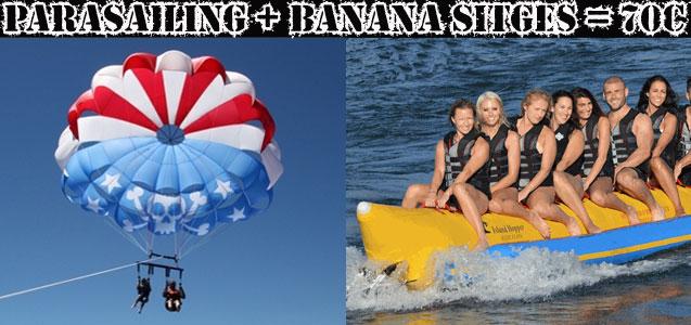 Parasailing y Banana Sitges para grupos de despedida