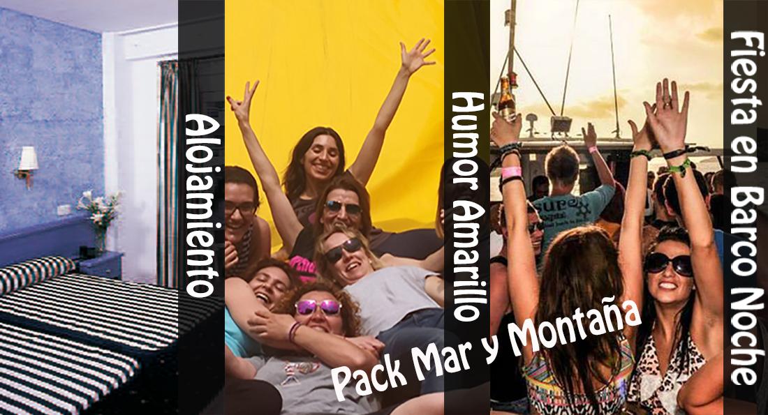 Pack Alojamiento Humor Amarillo y fiesta en barco con cena y barra libre Salou
