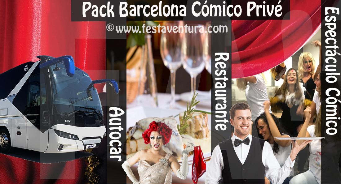 Pack Despedida Barcelona autocar cena con espectáculo cómico www.festaventura.com