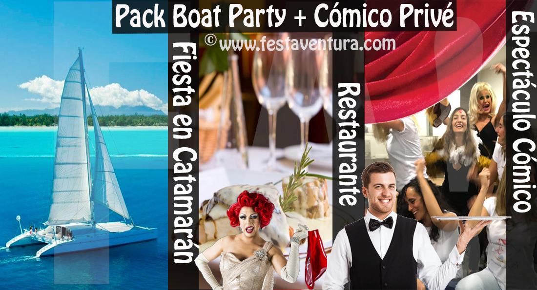 Pack Despedida Barcelona fiesta en Barco y cena con espectáculo cómico