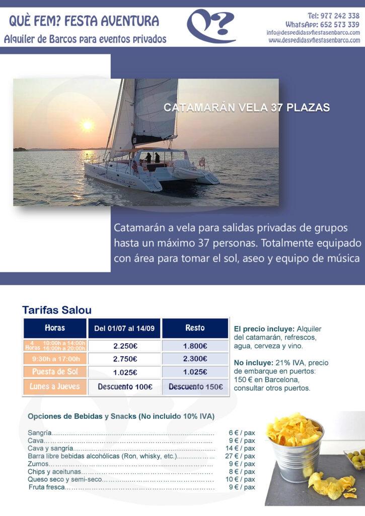 Alquiler de Catamarán para fiestas privadas en Salou - Cambrils - Tarragona